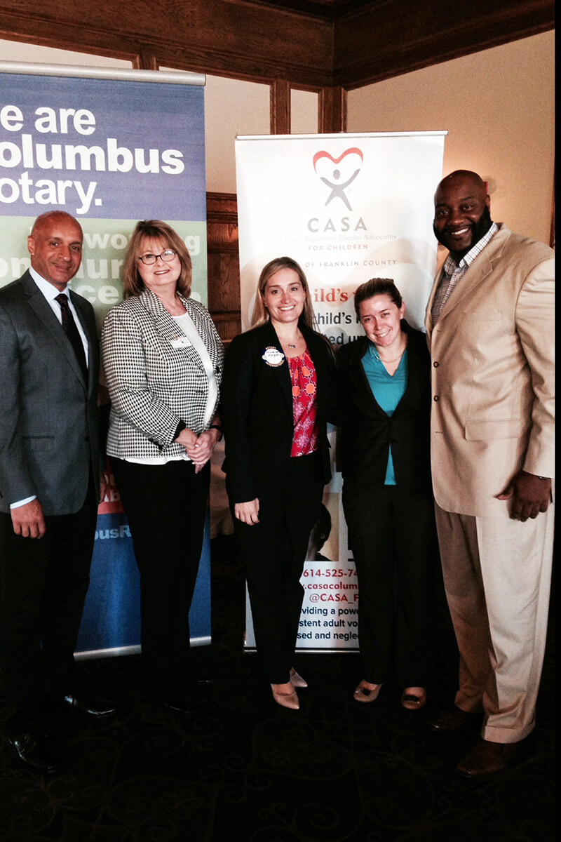 CASA Board Members, Executive Director Kathy Kerr, and Jimmie Bell present to the Columbus Rotary.